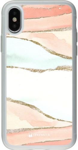 Coque iPhone X / Xs - Silicone rigide transparent Shimmering Orange