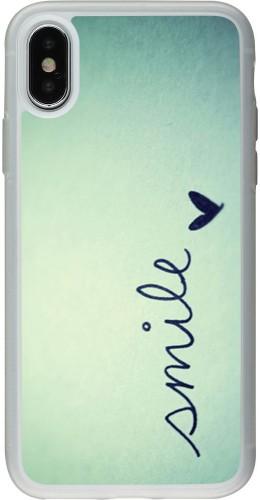 Coque iPhone X / Xs - Silicone rigide transparent Smile