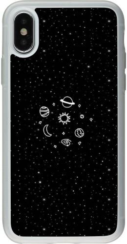 Coque iPhone X / Xs - Silicone rigide transparent Space Doodle
