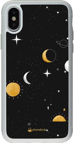 Coque iPhone X / Xs - Silicone rigide transparent Space Vector