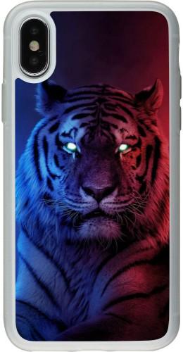 Coque iPhone X / Xs - Silicone rigide transparent Tiger Blue Red