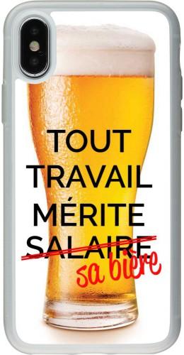Coque iPhone X / Xs - Silicone rigide transparent Tout travail mérite sa bière