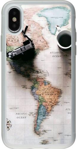 Coque iPhone X / Xs - Silicone rigide transparent Travel 01