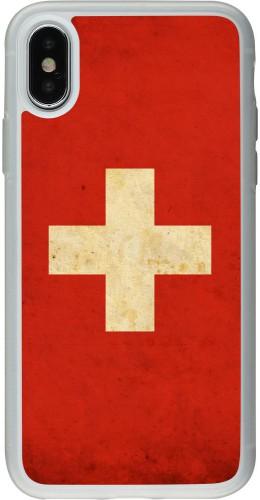 Coque iPhone X / Xs - Silicone rigide transparent Vintage Flag SWISS