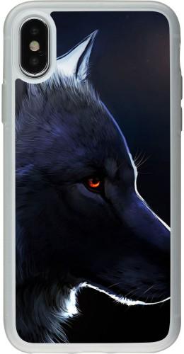 Coque iPhone X / Xs - Silicone rigide transparent Wolf Shape