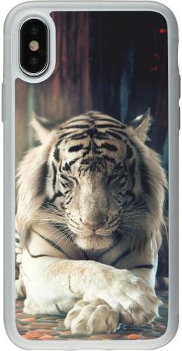 Coque iPhone X / Xs - Silicone rigide transparent Zen Tiger