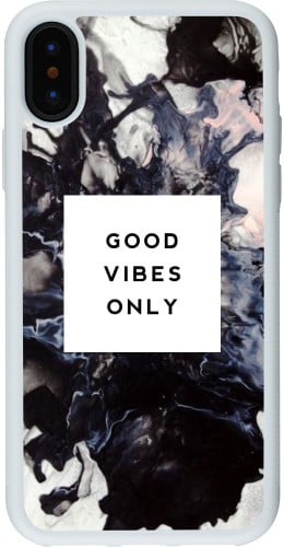 Coque iPhone X - Silicone rigide blanc Marble Good Vibes Only