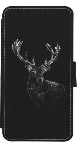 Coque iPhone X - Wallet noir Abstract deer