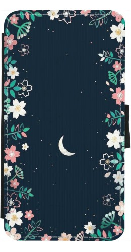 Coque iPhone X / Xs - Wallet noir Flowers space