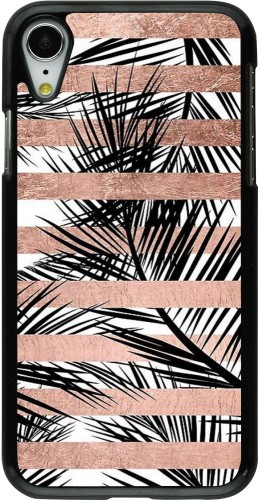 Coque iPhone XR - Palm trees gold stripes