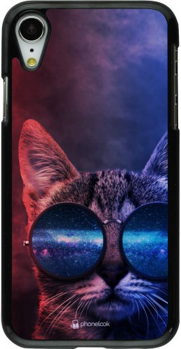 Coque iPhone XR - Red Blue Cat Glasses