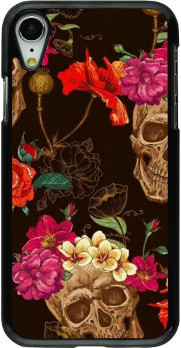 Coque iPhone XR - Skulls and flowers
