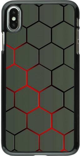 Coque iPhone Xs Max - Geometric Line red
