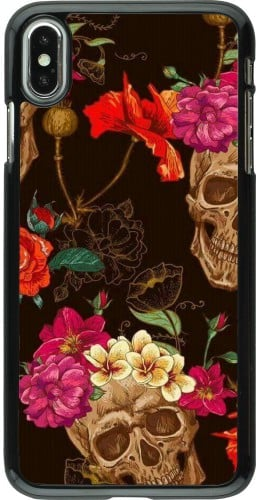 Coque iPhone Xs Max - Skulls and flowers
