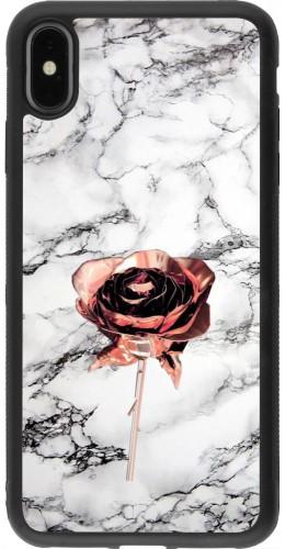 Coque iPhone Xs Max - Silicone rigide noir Marble Rose Gold