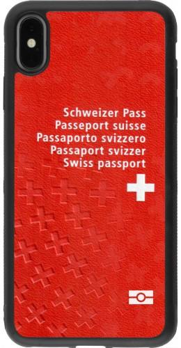 Coque iPhone Xs Max - Silicone rigide noir Swiss Passport