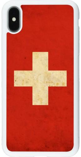 Coque iPhone Xs Max - Silicone rigide blanc Vintage Flag SWISS