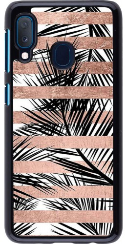 Coque Samsung Galaxy A20e - Palm trees gold stripes