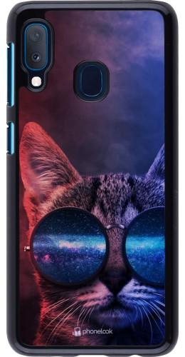 Coque Samsung Galaxy A20e - Red Blue Cat Glasses