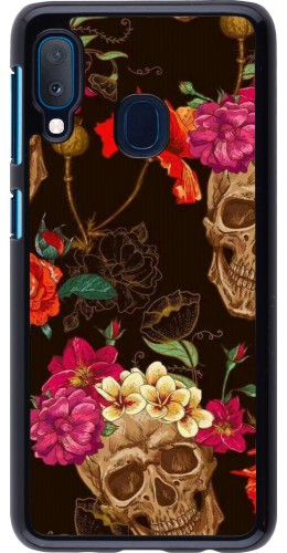 Coque Samsung Galaxy A20e - Skulls and flowers