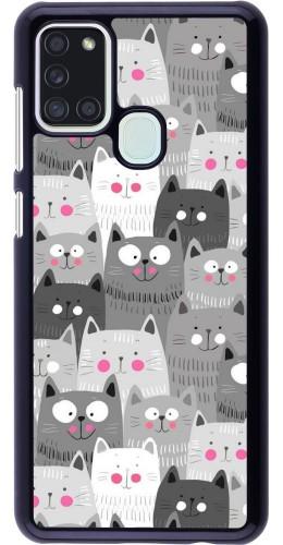 Coque Samsung Galaxy A21s - Chats gris troupeau