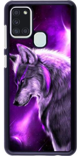 Coque Samsung Galaxy A21s - Purple Sky Wolf