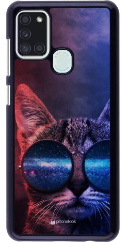 Coque Samsung Galaxy A21s - Red Blue Cat Glasses