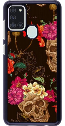 Coque Samsung Galaxy A21s - Skulls and flowers