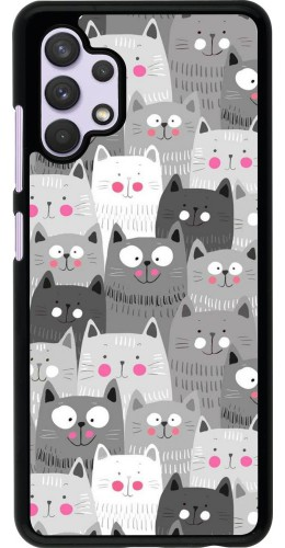Coque Samsung Galaxy A32 - Chats gris troupeau