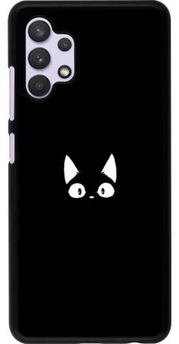 Coque Samsung Galaxy A32 - Funny cat on black