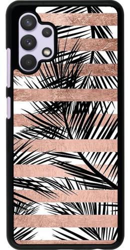 Coque Samsung Galaxy A32 - Palm trees gold stripes