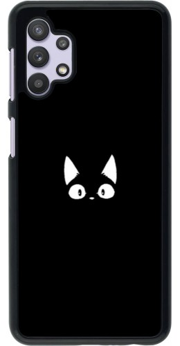 Coque Samsung Galaxy A32 5G - Funny cat on black