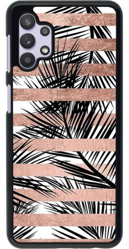 Coque Samsung Galaxy A32 5G - Palm trees gold stripes