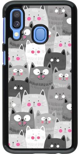 Coque Samsung Galaxy A40 - Chats gris troupeau