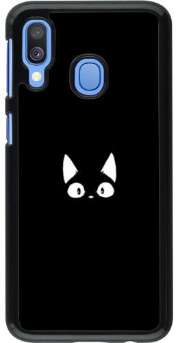 Coque Samsung Galaxy A40 - Funny cat on black