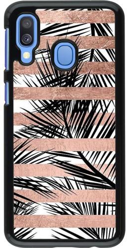 Coque Samsung Galaxy A40 - Palm trees gold stripes