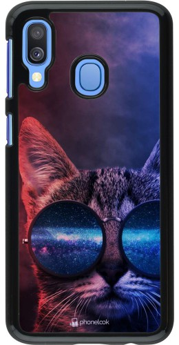 Coque Samsung Galaxy A40 - Red Blue Cat Glasses