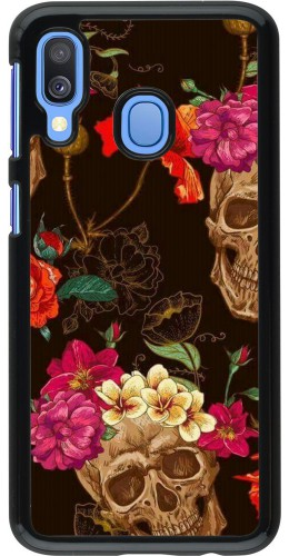 Coque Samsung Galaxy A40 - Skulls and flowers