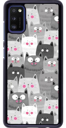 Coque Samsung Galaxy A41 - Chats gris troupeau