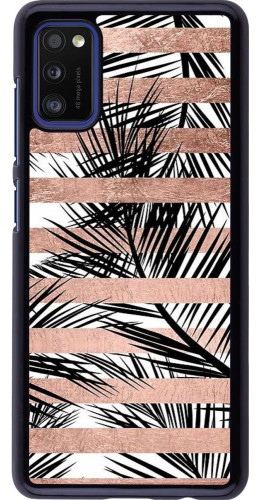 Coque Samsung Galaxy A41 - Palm trees gold stripes