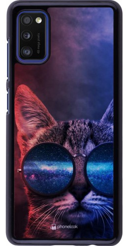 Coque Samsung Galaxy A41 - Red Blue Cat Glasses