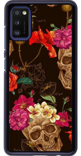 Coque Samsung Galaxy A41 - Skulls and flowers