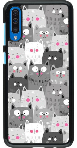 Coque Samsung Galaxy A50 - Chats gris troupeau
