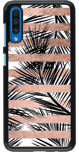 Coque Samsung Galaxy A50 - Palm trees gold stripes