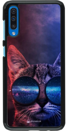 Coque Samsung Galaxy A50 - Red Blue Cat Glasses