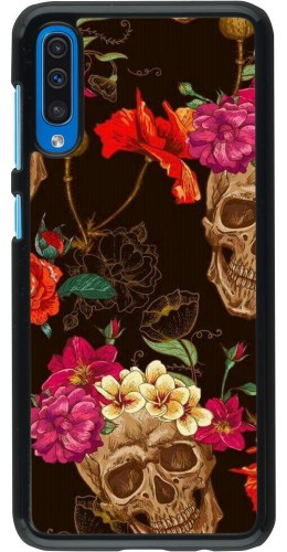 Coque Samsung Galaxy A50 - Skulls and flowers