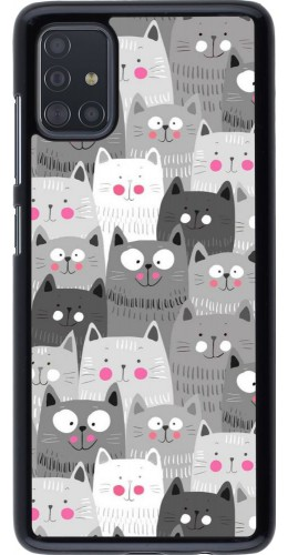 Coque Samsung Galaxy A51 - Chats gris troupeau