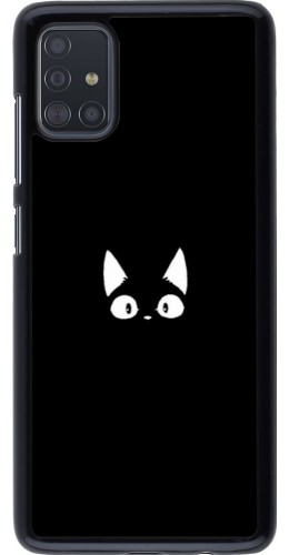 Coque Samsung Galaxy A51 - Funny cat on black