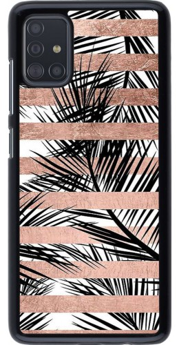 Coque Samsung Galaxy A51 - Palm trees gold stripes