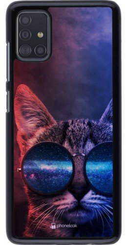 Coque Samsung Galaxy A51 - Red Blue Cat Glasses